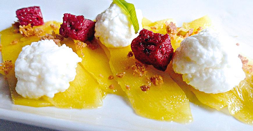 Láminas Mango, Mouse Yogurt Limón y Frutos Rojos